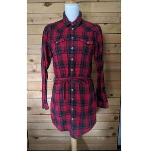 Diesel Plaid Belted Tunic Top - sz M